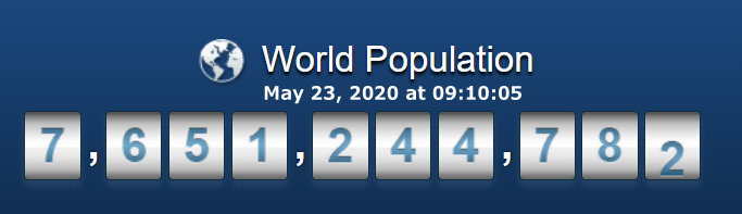 World Population - May 23, 2020 at 09h10m05s