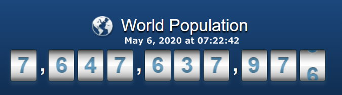World population - May 6, 2020 at 07h22m42s