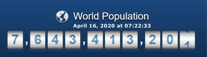 Wprld Population - April 16, 2020 at 07h22m33s
