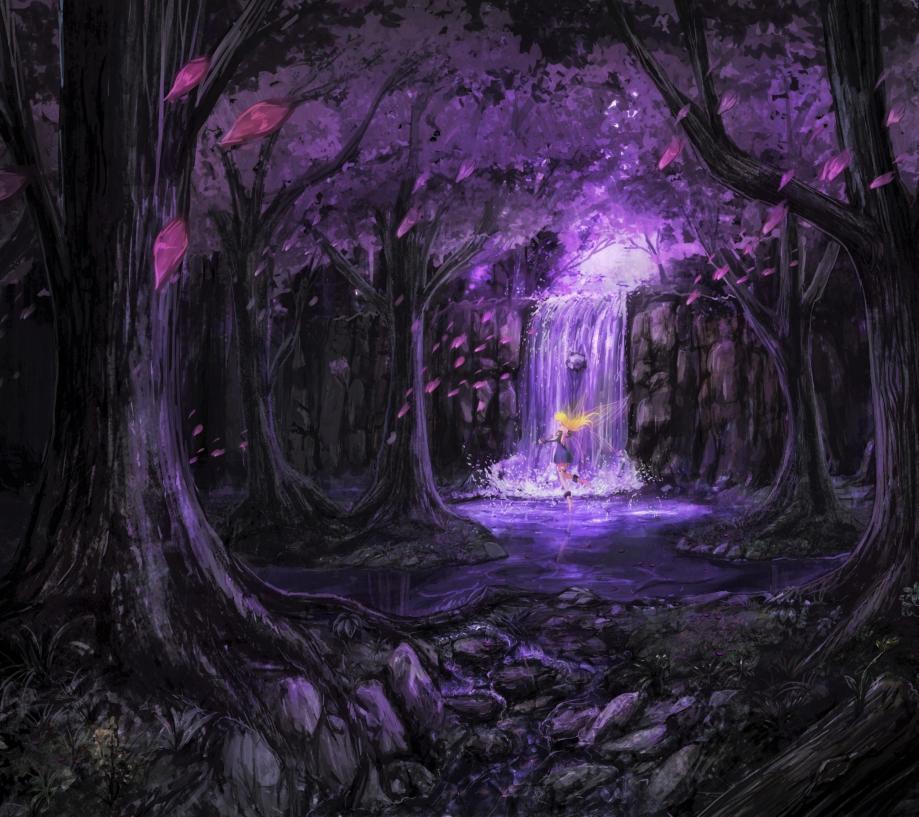 purple-forest-scenic-fairy-anime-girl-waterfall-stream-anime-34393