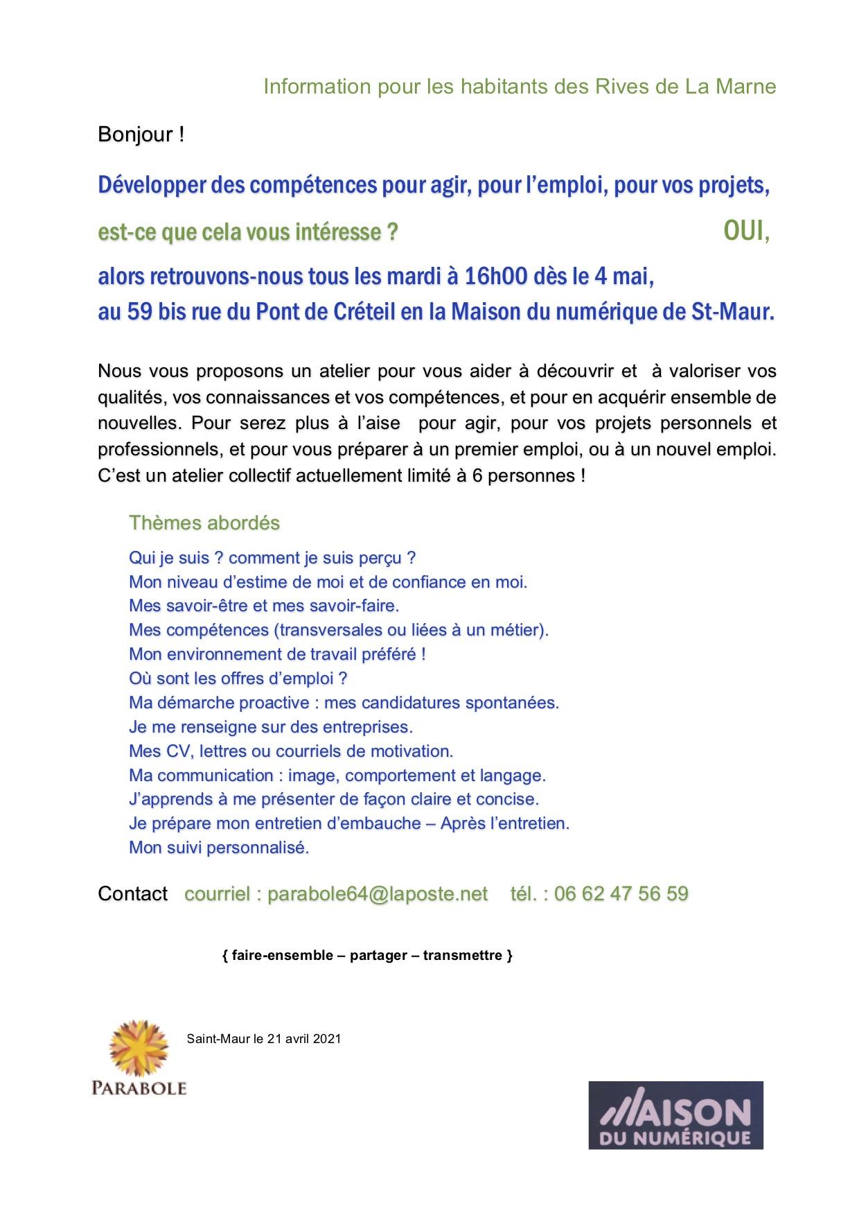 Information Atelier Emploi 2021-04-21