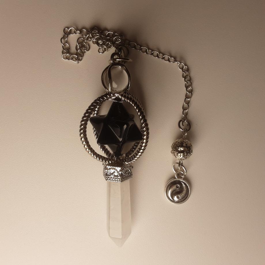 Pendule Merkaba onyx et quartz blanc pierret nicole