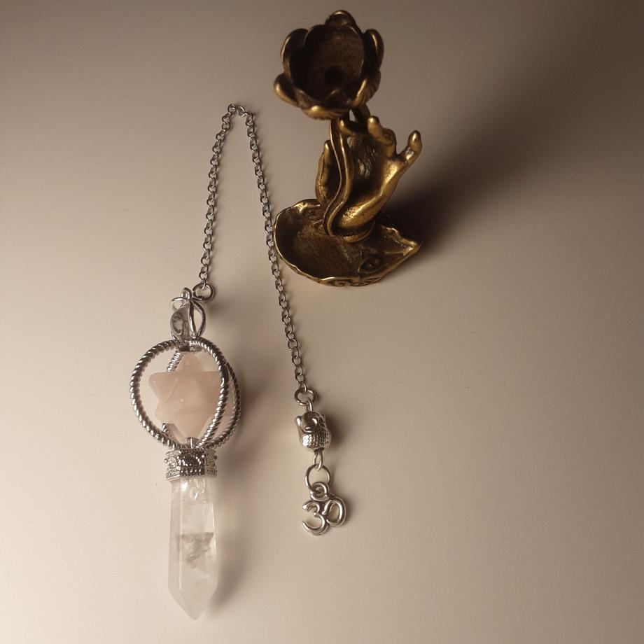 Pendule Merkaba quartz blanc et rose nicole pierret