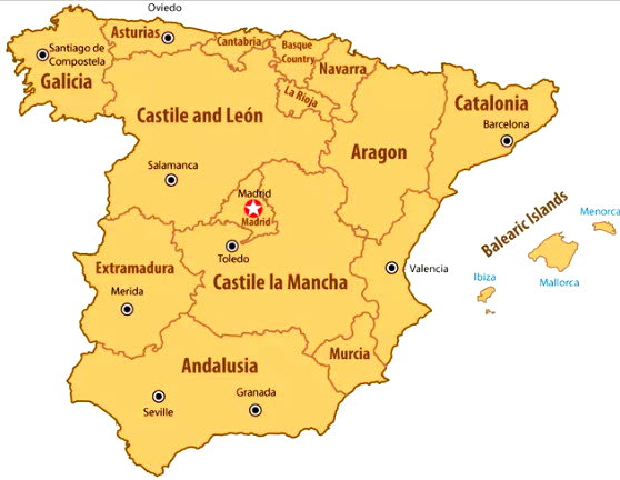 Map of Spain\\\'s regions