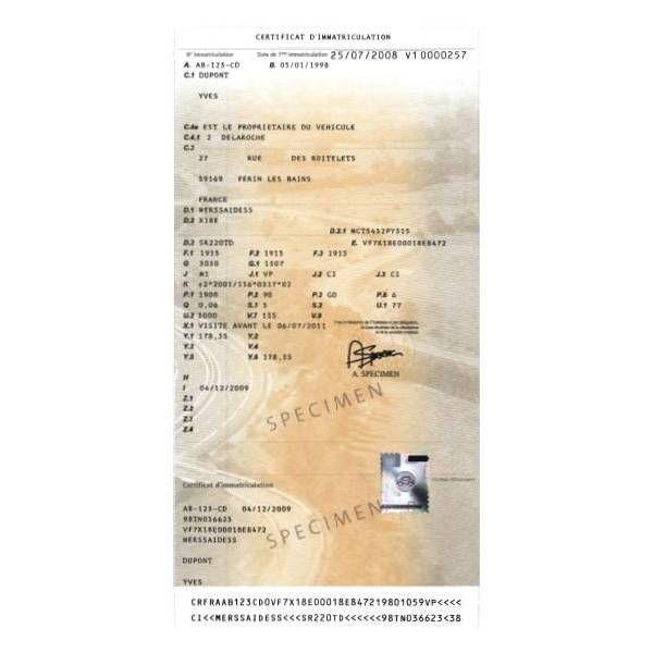 Carte grise voiture importée et son Certificat de conformité