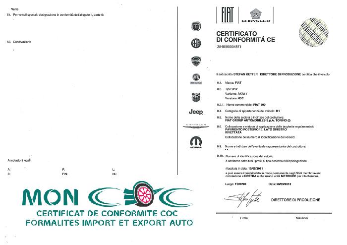 Certificat de Conformité Fiat Gratuit pour voiture importée Fiat