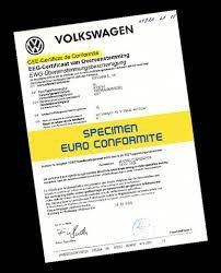 Site Officiel de demande de Certificat de conformité européen Vw