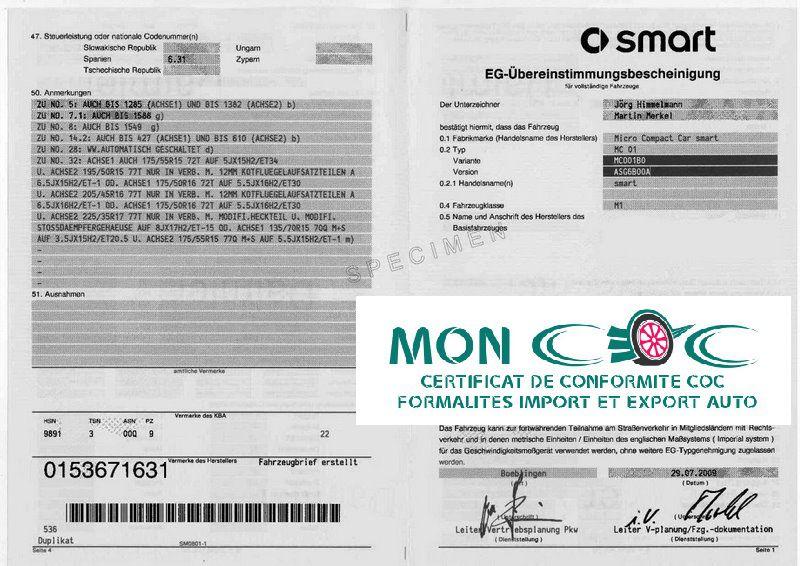 Certificat de Conformité Smart Gratuit  au 03 89 57 55 39 ou par mail info@moncoc.fr