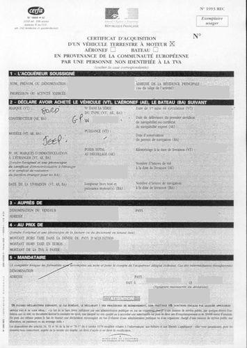 Le quitus fiscal: le certificat fiscal obligatoire pour l'acquisition d'un véhicule importé d'un pays Européen.