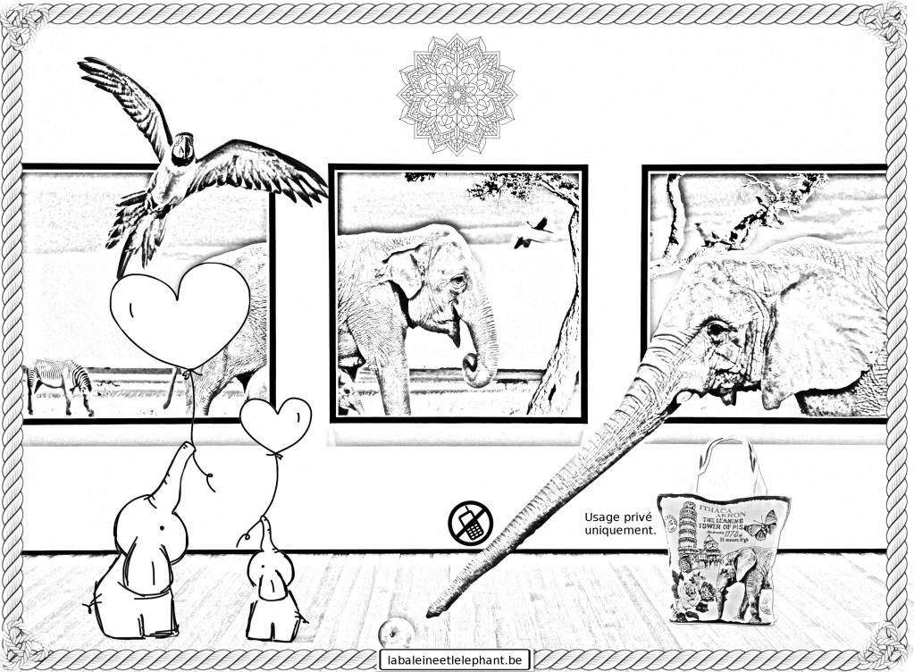 C3 coloriage gratuit imprimer elephants surrealisme