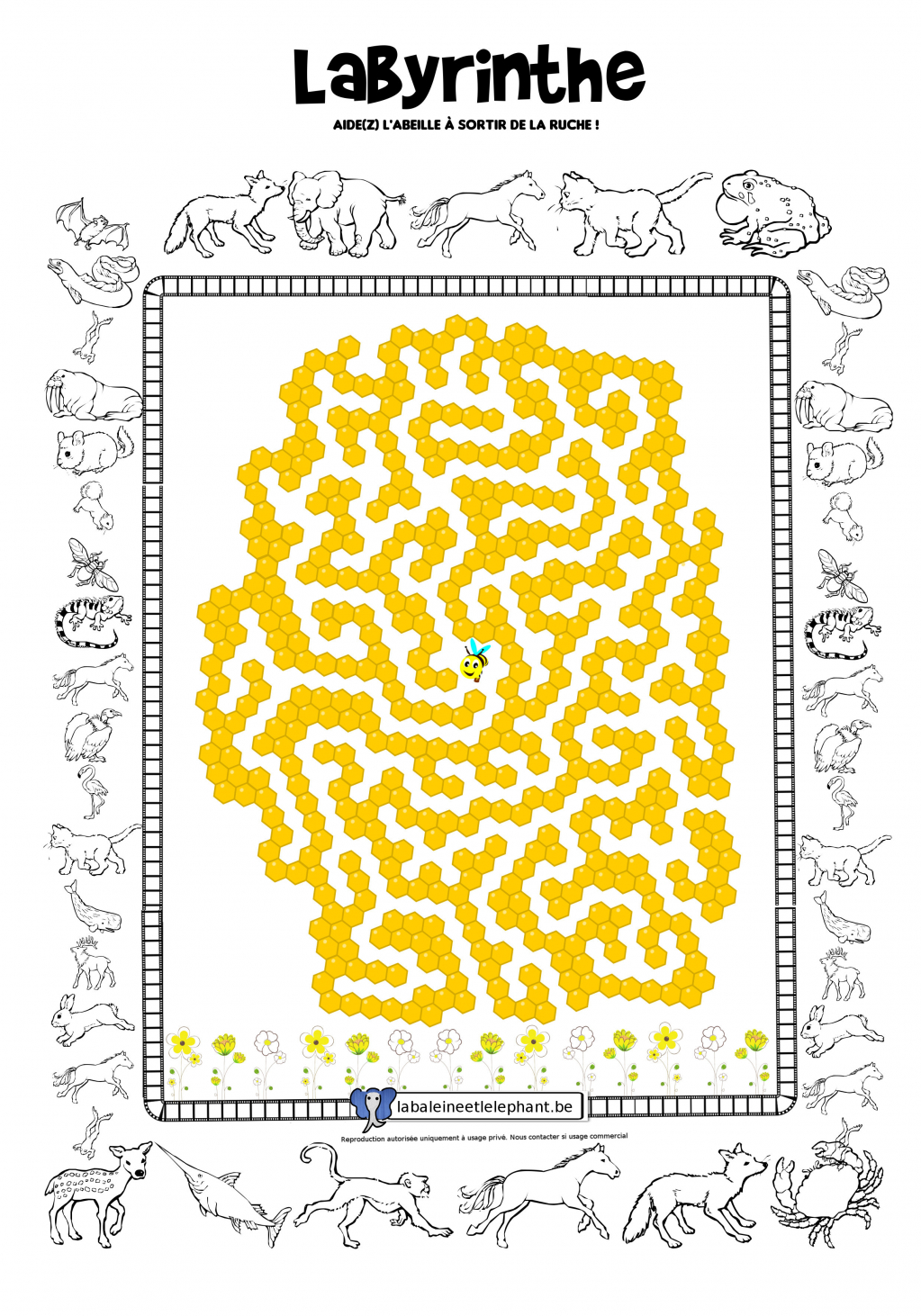 labyrinthe coloriage abeille animaux