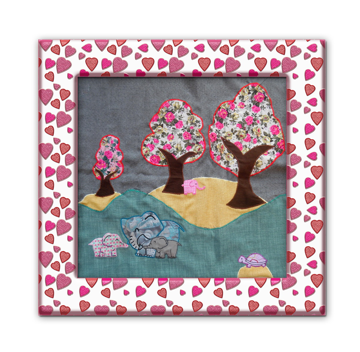 patchwork elephants tortue arbres