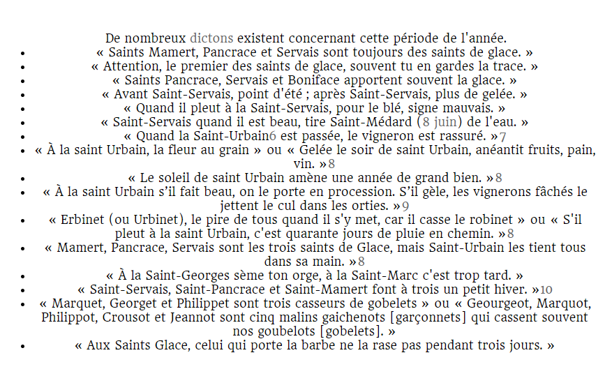 Dictons Saints de Glace